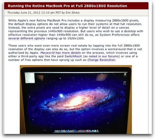 MacBook Pro Retinaで2880×1800のフル解像度を実現するアプリ登場