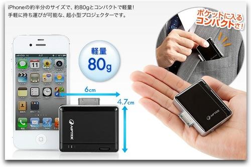 小さい!iPhonenの約半分!モバイルプロジェクターが発売!