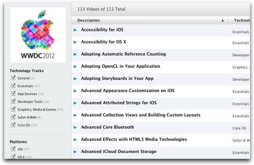 Apple、WWDC2012の動画やキーノートを無料で公開中!