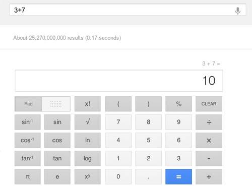 google.comで、検索窓に計算式を入力すると電卓がでてくるように
