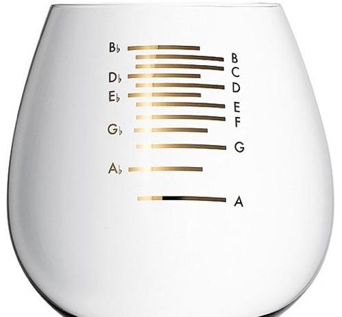 グラスハープにぴったりの音階付きワイングラスがオシャレ