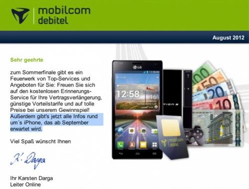 ドイツの携帯電話会社が「新型iPhone9月発売」と掲載