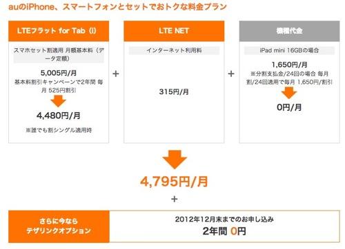 【速報】KDDI、第4世代iPad、iPad miniの料金プランを発表:スマホとセットなら基本使用料0円からに騙されるな!(追記アリ)
