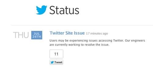 Twitter Status  Twitter Site Issue