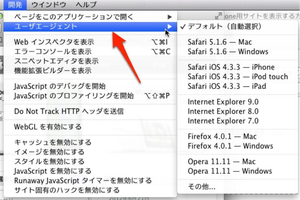 safariでiPhone用サイトを確認